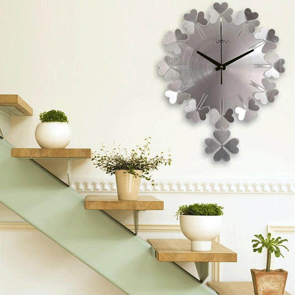 TXXM® ウォッチクローバーをぶら下げ3D金属彫刻シンプルでスタイリッシュなリビングルームダイニング寝室芸術ミュート壁時計 (色 : シルバー しるば゜) B07F3DDT7Dシルバー しるば゜
