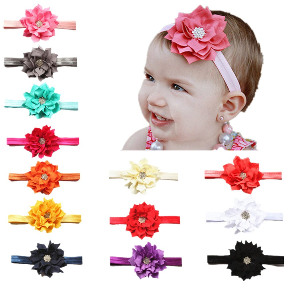 BrilliantDay 13PCS Turban Headband Kids Hair Bows for Babies
