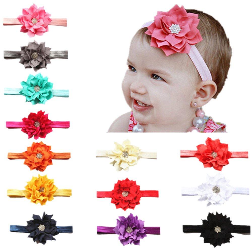BrilliantDay 13 stk mehrfarbig Baby Haarband elastisch Blumen Muster Stirnband