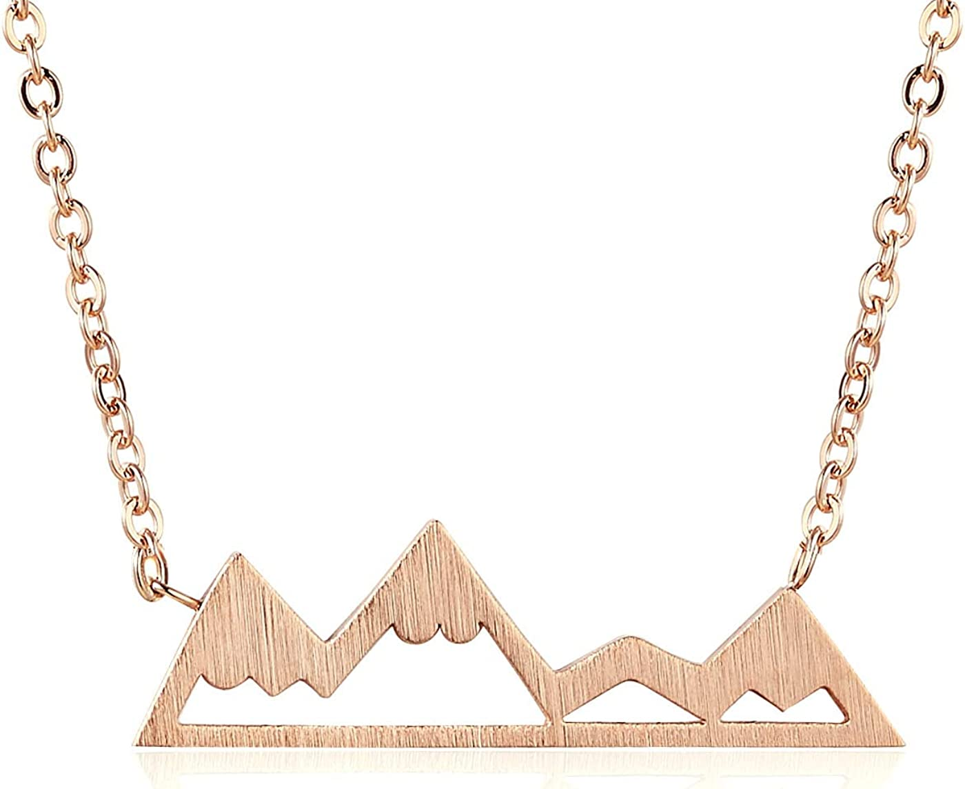Rosa Vila Mountain Necklace For Women, Mountains And Outdoor Lovers Gifts, Mountain Range Necklace In Rose Gold, Gold, Carbon Black, Or Silver, Mountain Jewelry, Nature Necklace