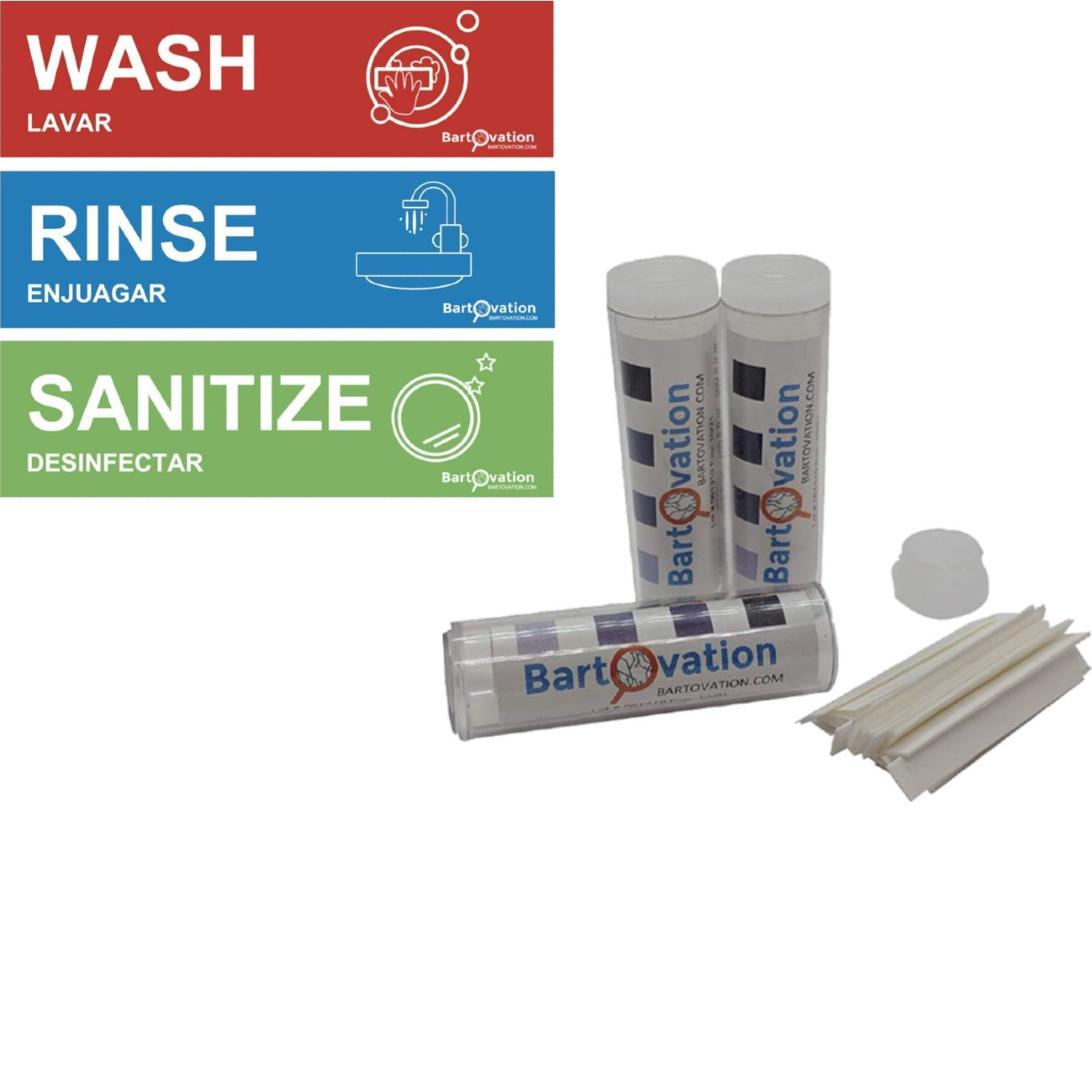 300 Chlorine Testing Strips with Rinse Wash Sanitize Heavy Duty Vinyl Labels for Food Service Compliance