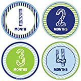 24 Pack Baby Month Stickers and Milestone Stickers by Kenco - Track Your Baby's First Year Month-by-Month and Holidays! Boys and Girls' Available (Boy)