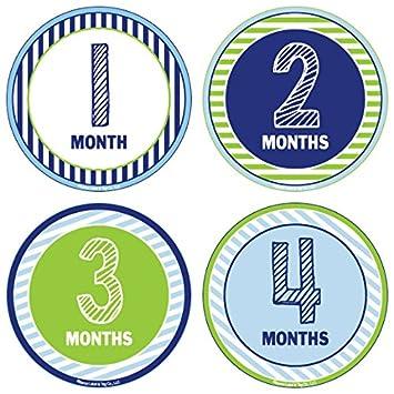Amazon.com: Paquete de 24 pegatinas de meses de bebé y ...