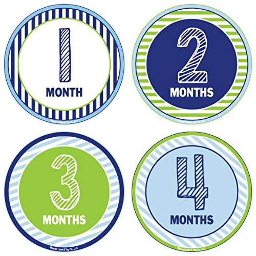 24 Pack Baby Month Stickers and Milestone Stickers by Kenco - Track Your Baby's First Year Month-by-Month and Holidays! Boys and Girls' Available (Boy) -