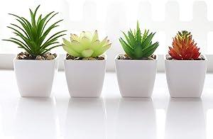 Veryhome FakeSucculentPlantsArtificialFauxSucculents4pcsPlastic MiniPottedFakeSucculents for Flower Arrangements