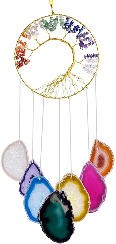 Amazon Com Rockcloud Healing Crystals Tree Of Life Wall Hanger Agate Slices Meditation Hanging Ornament Window Ornament Home Decor Multicolor Home Kitchen