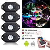 Wiipro Rock Lights RGB LED Underglow Light Kit APP Bluetooth Controller 4 Pod Multicolor Trail Rig Neon Blubs for Auto Vehicle Jeep JK Wrangler Offroad Chevy Silverado GMC Sierra Ford Dodge Ram Boat