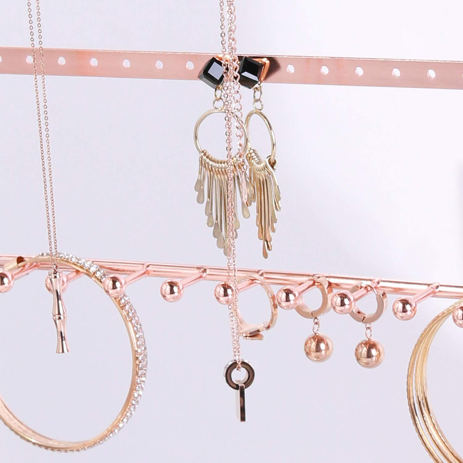 Storage Organization Simmer Stone Rose Gold Jewelry Stand 4 Tier Jewelry Organizer Holder Decorative Jewelry Storage Hanger Display With Tray For Rings Bracelets Necklaces Earrings Home Kitchen Credai Surat Com