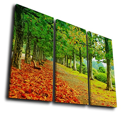 HQ Art 3Pcs Path In Autumn Park Landscape Watercolor Style Painting Printed on Canvas Wall Art Picture for Home Décor, Contemporary Artwork, Split Canvases (SIZE 1: 8x16inchx3pcs, With (City Of Oakland Park Halloween)