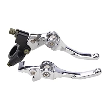 GOOFIT Embrague Hidraulico Moto Universal Manillar 22mm Plegable Kit Palanca y Freno Pit Bike para 50cc 70cc 90cc 110cc 125cc Scooter ATV Quad Plata: ...