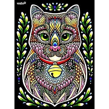 LAMINA PARA COLOREAR con caja de rotuladores. Gato Mandala: Amazon.es: Hogar
