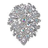 AENMIL High-End Large Full Diamond Flower Brooch Pin, New Inlaid Crystal Rhinestone Bride Beauty Dress Accessory