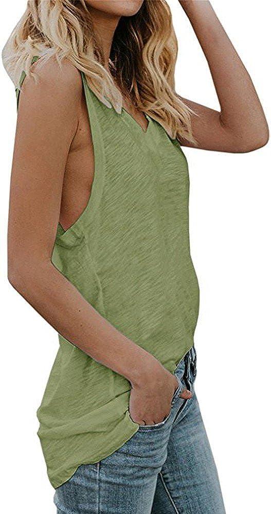 WOCACHI Womens Tank Tops V Neck Sleeveless Summer Loose Vest Tunic Shirts Blouse