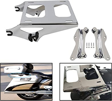 AUFER Black Detachable Two Up Mounting Luggage Rack 4 Point Docking Hardware Fits For Touring Road King Street Glide Road Glide Tour Pak Pack 2014-2020