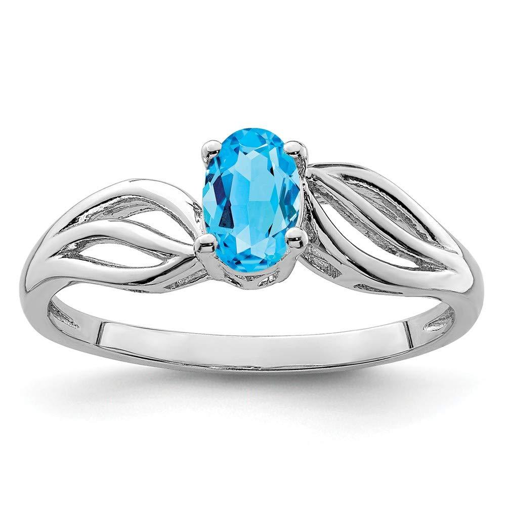 Mia Diamonds 925 Sterling Silver Solid Light Swiss Blue Topaz Ring