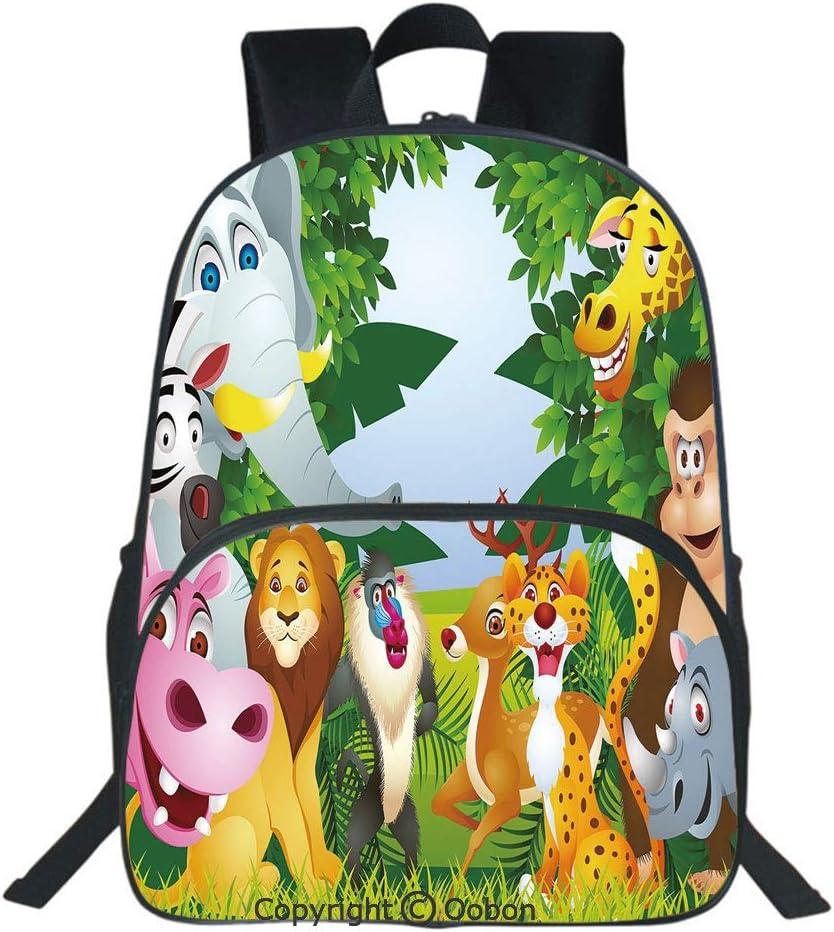 para Adolescentes Mochilas para el d/ía de la Escuela TIZORAX Mochila Escolar de Animales de la Selva de Dibujos Animados para Colegio ni/ños y ni/ñas