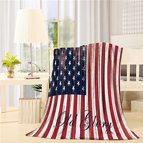 SIGOUYI Lightweight Fleece Blankets Reversible Throw Cozy Plush Microfiber All-Season Blanket for Bed/Couch - Queen 50x80 Inch American Flag Old Glory