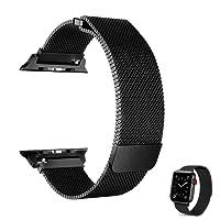 EFFE Correa para Apple Watch 42mm 44mm, Milanese Loop Acero Inoxidable de reemplazo de Metal iWatch Band para Apple Watch Series 4, 3, 2, 1, Deporte, edición, Negro