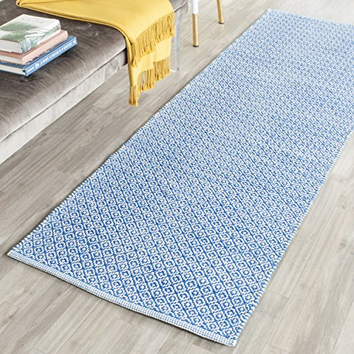 "Safavieh Montauk Collection MTK717C Handmade Flatweave Ivory and Blue Cotton Runner (2'3"" x 7') from Safavieh"