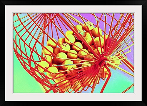 GreatBIGCanvas ''Manual Bingo Machine, Low Angle View '' Photographic Print with black Frame, 36'' X 24''''