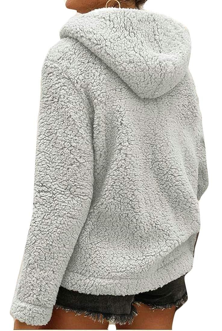 Sweatwater Womens Baggy Fleece Zipper Pocket Pullover Hooded Sweatshirts