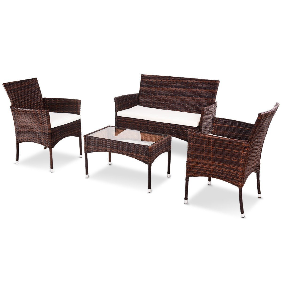 EnjoyShop 4 Pcs PE Rattan Wicker Table Shelf Sofa Furniture Set with Cushion Dining Garden Picnic Outdoor