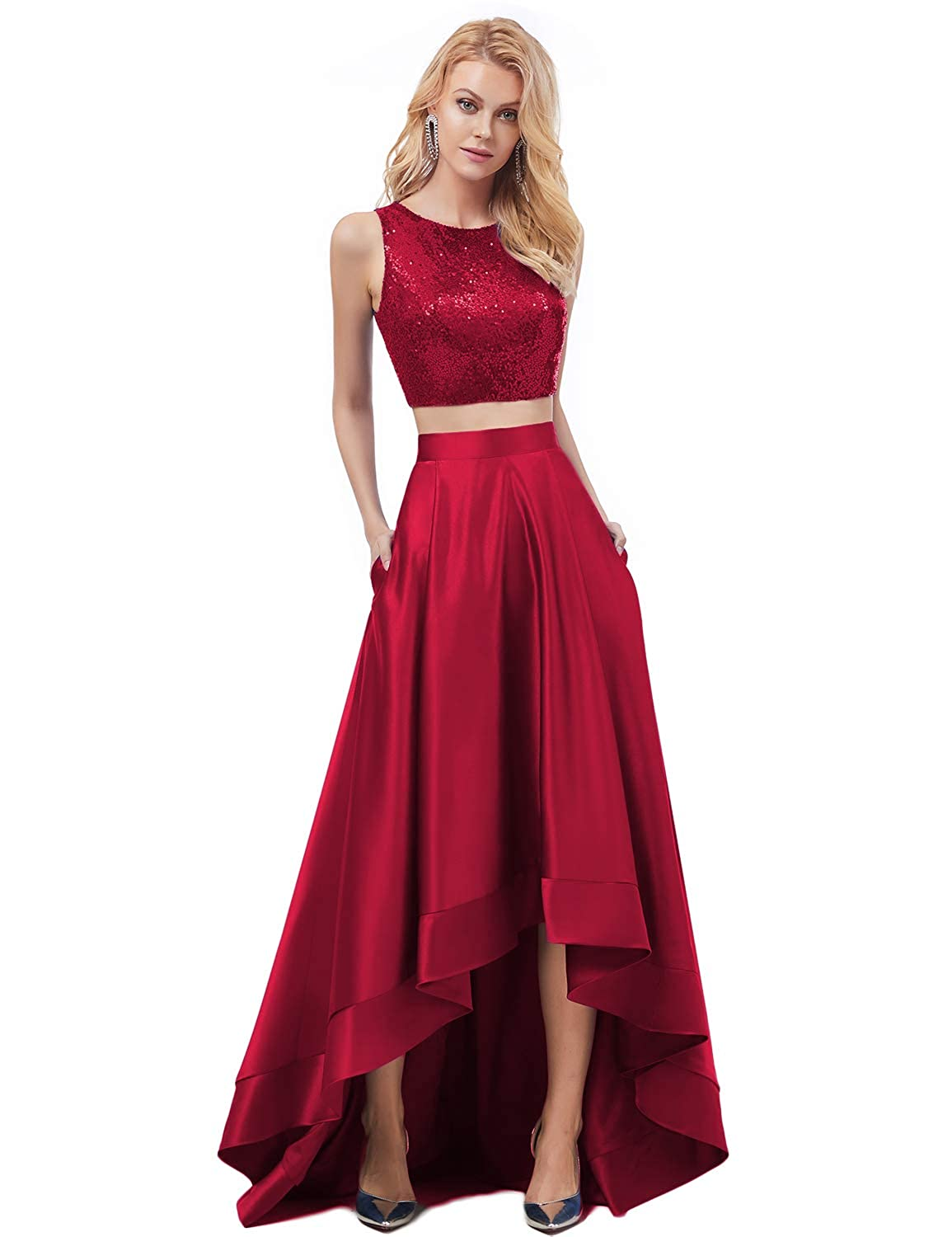 Burgundy YSMei Womens Two Piece Sequin Bodice High Low Satin Evening Prom Dress ON039
