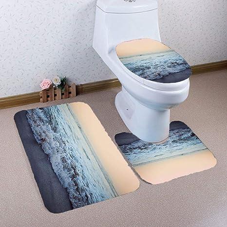 3Pcs//Set Sea Bathroom Non-Slip Pedestal Rug Lid Toilet Cover Carpet Bath Mat Hot