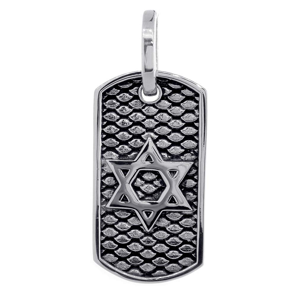 36mm Hardcore Metal Snake Skin Star of David Pendant Dog Tag in Sterling Silver by SZIRO
