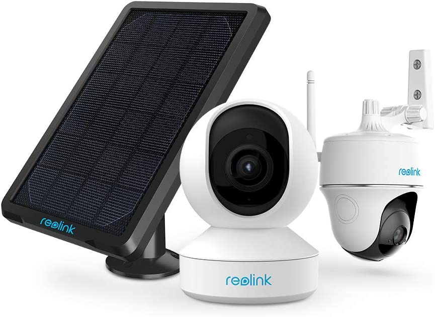 Reolink Indoor/Outdoor WiFi Cameras for Home Security Bundle: 1080P Solar Powered Battery Camera, 3MP Indoor Baby Montitor, Work with Smart Home Devices - Google Assistant, Amazon Alexa