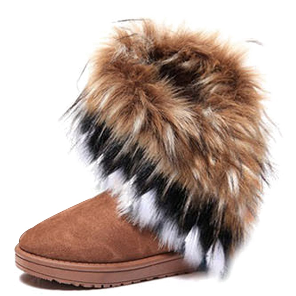 KINDOYO Bottes Mode d hiver Marron Fourrure 14068 Bottines de Femme Chaud Chaussures de Neige Chaud Cheville Plat Tricot Laine Bottes Marron 6b85910 - latesttechnology.space