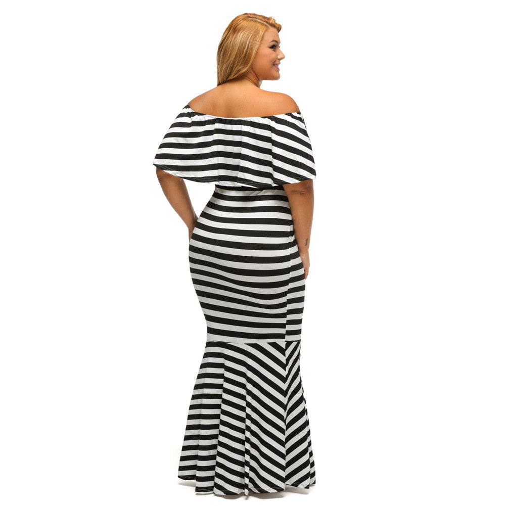 Pan & pan Tubo con volantes de rayas PLUS SIZE Maxi Dress, stripes, XL