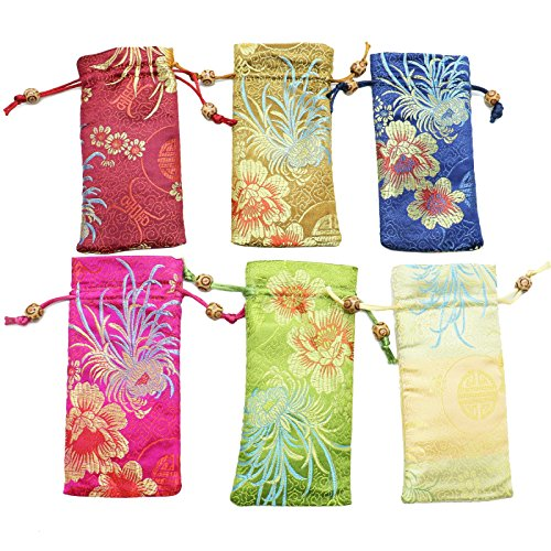 JETEHO Silk Brocade Pouch Bags, 6pcs Embossed Chinese Bead Drawstring Eyeglass Case Gift Bag