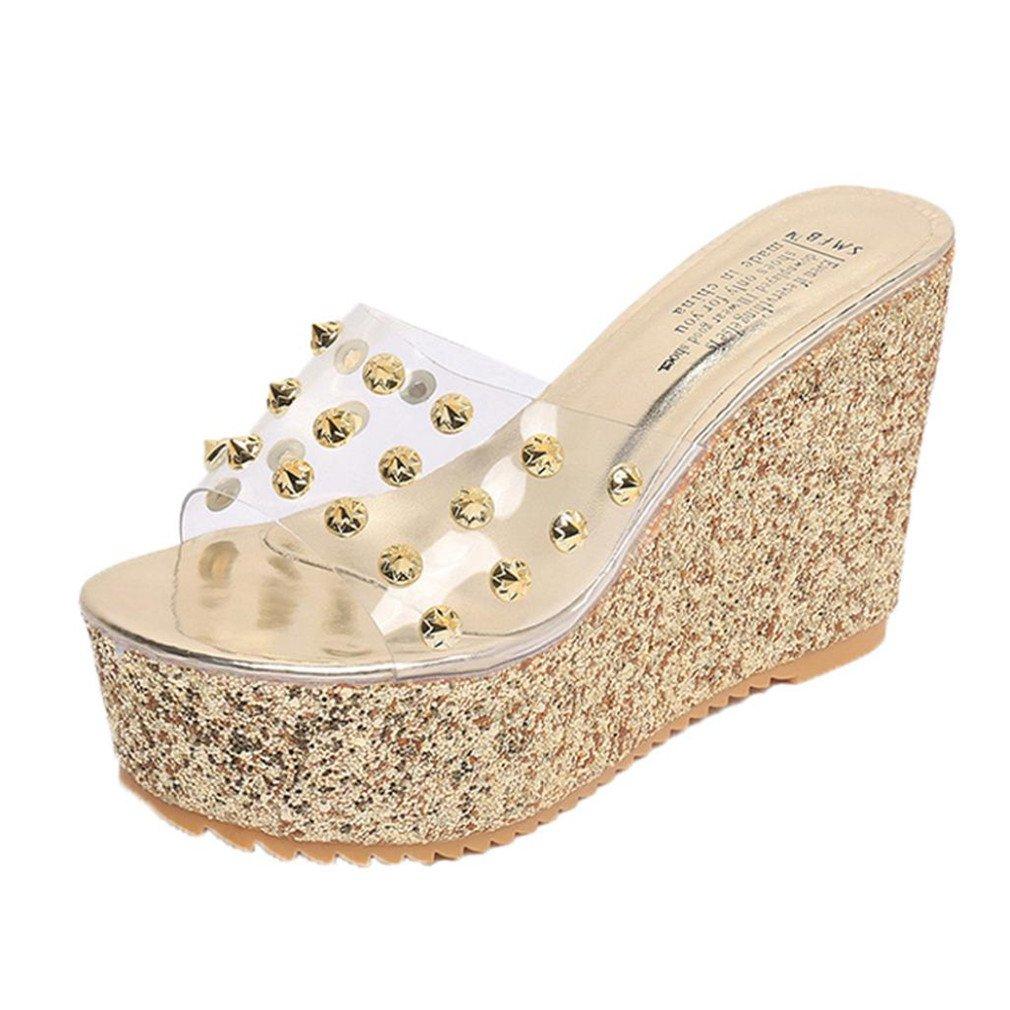 ❉Sandales Compensées Femmes Tongs Sandales Chaussures Compensées Chaussures De Plage Mules Chausson Pantoufles Été Plateforme Transparente Sandales étanches GongzhuMM