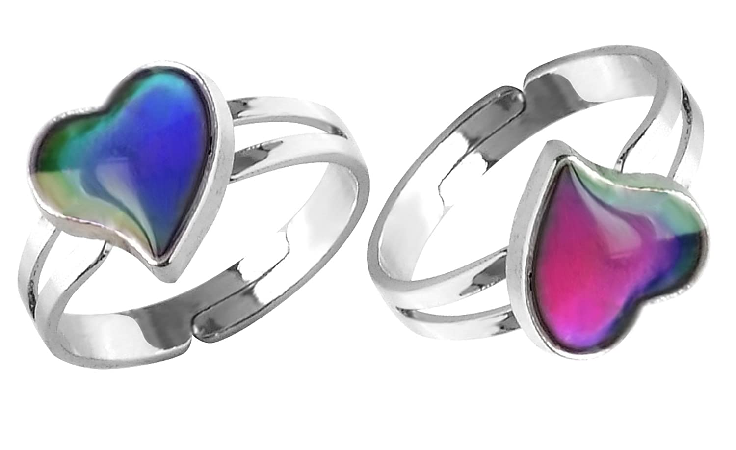 Acchen Mood Ring Heart Love Changing Color Emotion Feeling Finger Rings 2pcs with Box