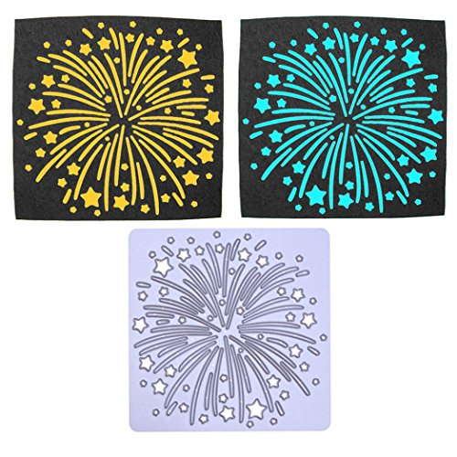 E-SCENERY 2019 Newest Snowflake Metal Cutting Dies Handmade DIY Stencils Template Embossing for Card Scrapbooking Craft (Fireworks) ()