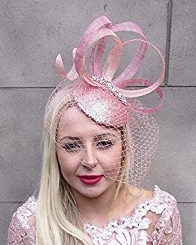 a5f10e9cd0ee1 Image Unavailable. Image not available for. Colour  Rose Gold Silver Pink  Birdcage Veil Fascinator ...