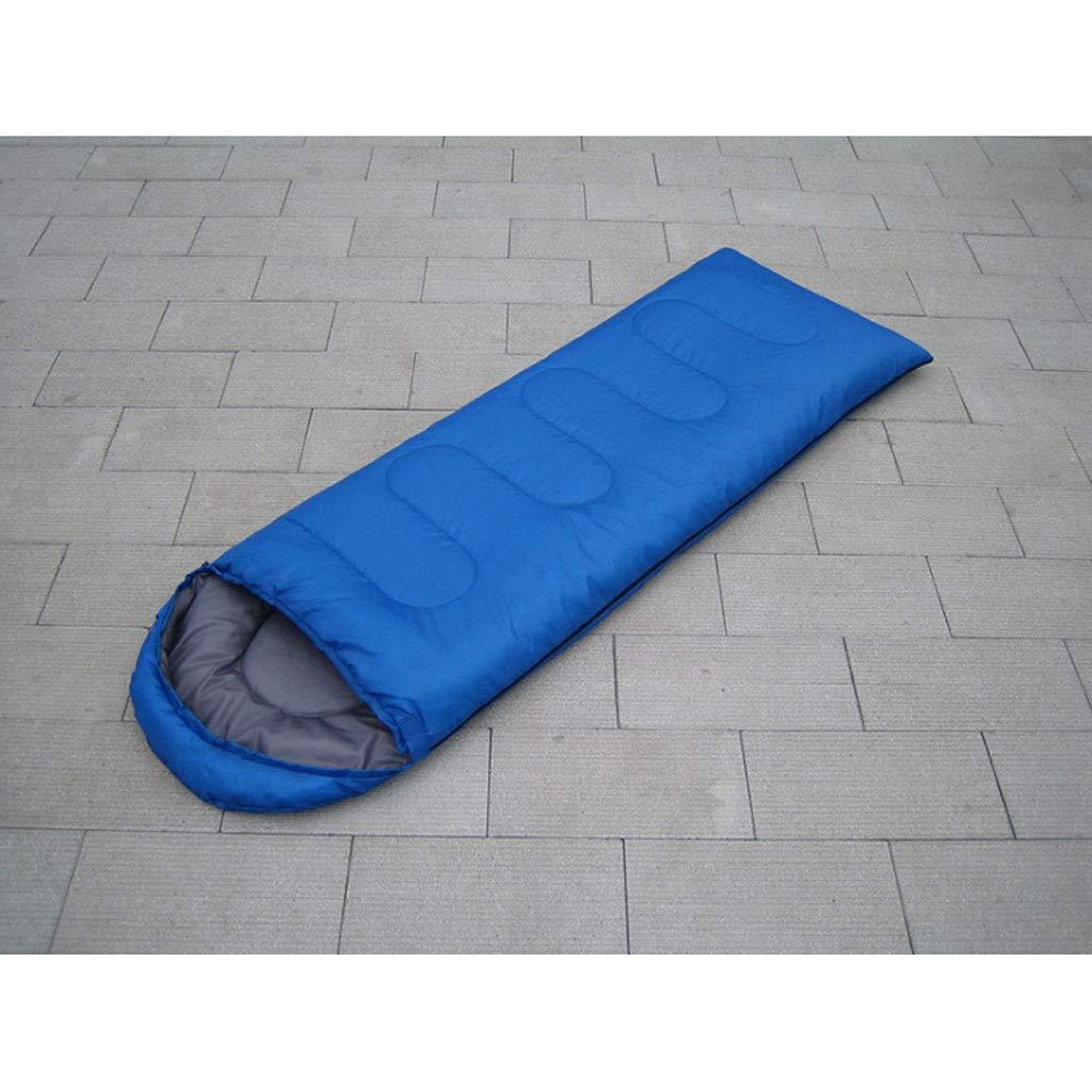 Bleu 1.3kg DGB Enveloppe avec Capuchon Sac De Couchage en Coton pour Adultes, Camping Extérieur Quatre Saisons