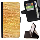 Planetar Colorful Pattern Flip Wallet Leather Holster Protective Skin Case Cover For SAMSUNG Galaxy S5 V / i9600 / SM-G900 ( Golden Honey Comb Pattern Bees Structure )