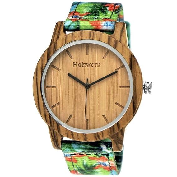Hecha a mano de madera de Alemania® Unisex Mujer de reloj de hombre reloj Verano