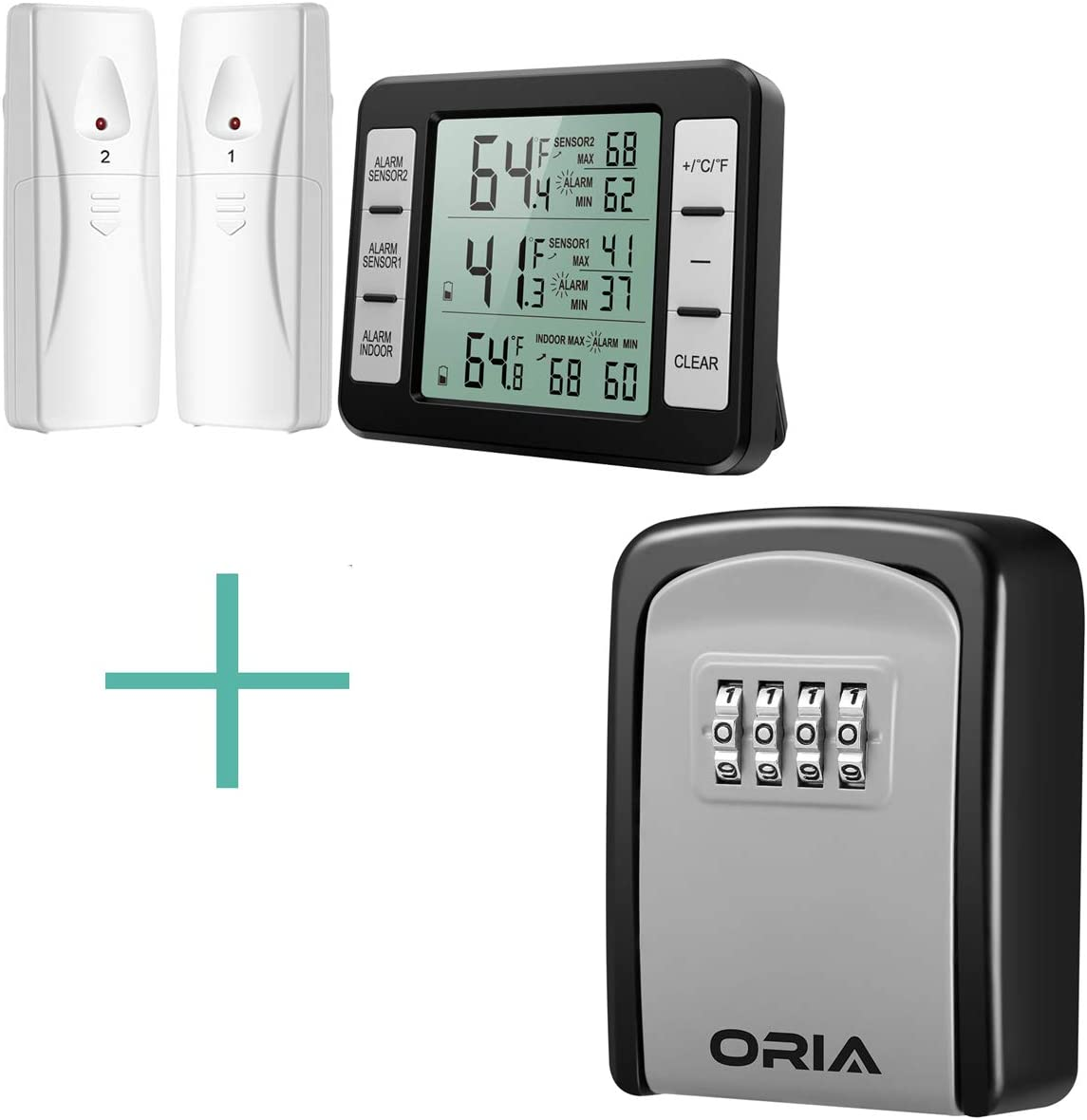 ORIA Refrigerator Thermometer and Key Lock Box