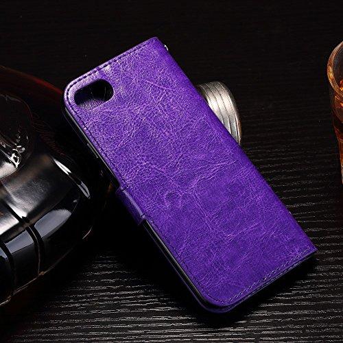 Apple iPhone 7étui housse coque étui Cover Étui de protection design Case Acier Violet decui Violet Housse en simili cuir