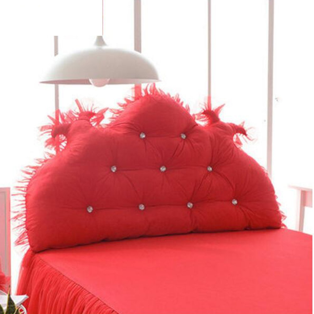 クッション ベッドサイドクッションウェディングクッションベッド背もたれプリンセスピローダブルロングピローソフトパッドウォッシャブル 枕 (色 : Red, サイズ さいず : 180cm) B07F5VMZT4 180cm|Red Red 180cm