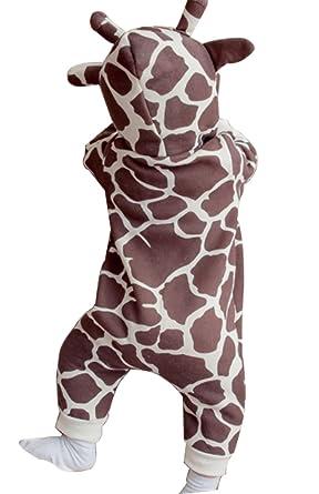 c679fdf558f5 Amazon.com  Baby Boys Girls Cartoon Giraffe Print Hooded Romper Warm Thick  Onesies Jumpsuit  Clothing