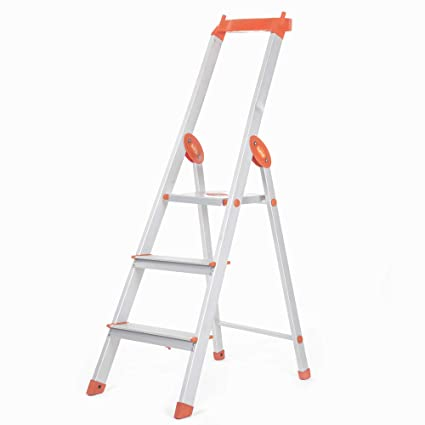 Bathla Elevate 3-Step Foldable Aluminium Ladder with Tool Tray (Orange)