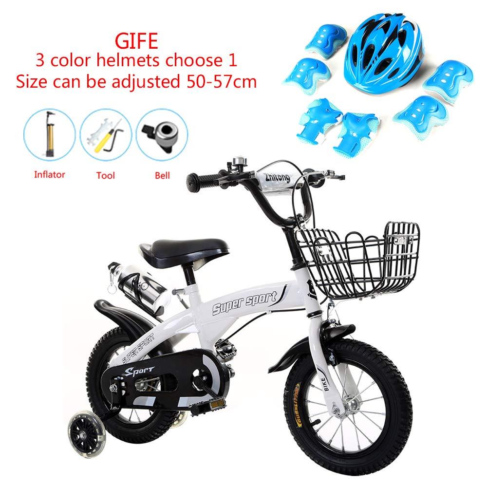 Weiß 12 WSYY-Fahrrad Kinderfahrräder, die 12 14 16 18 Zoll-Rad Falten Rahmen aus Kohlenstoffstahl, Geschenk-Helmset,Weiß,12