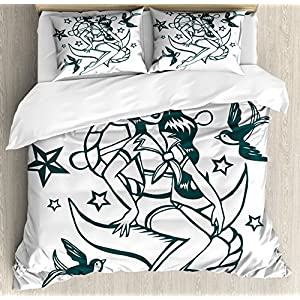 Ambesonne Anchor Duvet Cover Set Queen Size, Pin-up Girl Nautical Sailor Suit Surrounded by Swallow Birds Stars Hand Drawn, Decorative 3 Piece Bedding Set with 2 Pillow Shams, Teal and White