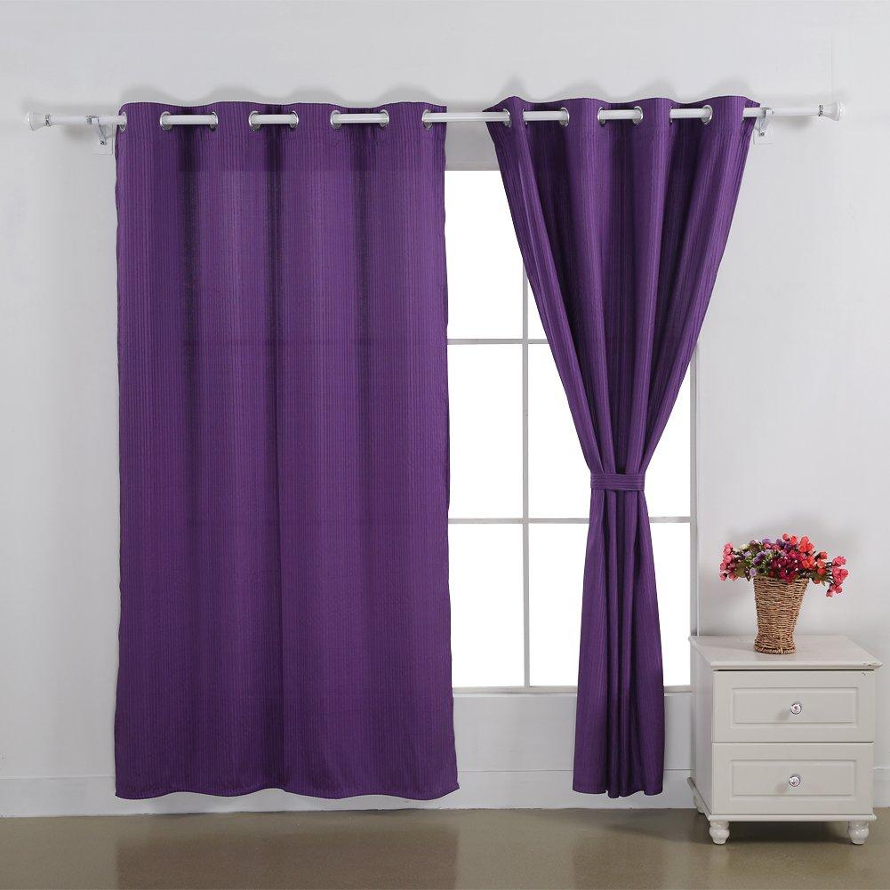 Deconovo Grommet Top Jacquard Stripe Window Curtain for Bedroom 52x63,Black,1 Pair CT0132-1D