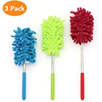 Cupidkiss 3 Pack Microfiber Duster, Microfiber Hand Duster Washable Microfibre Cleaning Tool Extendable Dusters for Cleaning Office, Car, Computer, Air Condition, Washable Duster