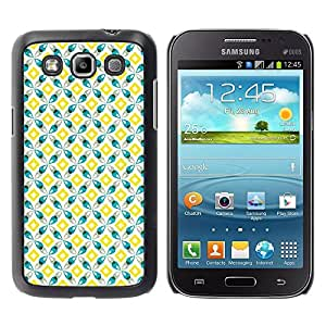 FECELL CITY // Duro Aluminio Pegatina PC Caso decorativo Funda Carcasa de Protección para Samsung Galaxy Win I8550 I8552 Grand Quattro // Yellow Teal Square Design